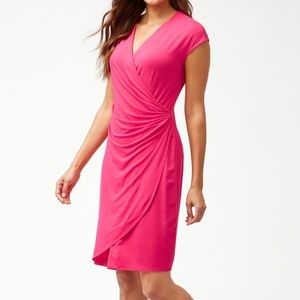 Tommy Bahama Tambour Side Gathered Dress in Coral